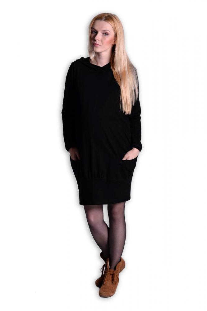 Sportovní těhotenské šaty s kapucí - černé