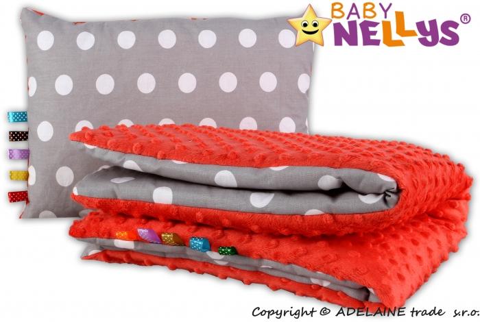 Sada do kočárku 2D - MINKY BABY - Bubble retro šedé - červená
