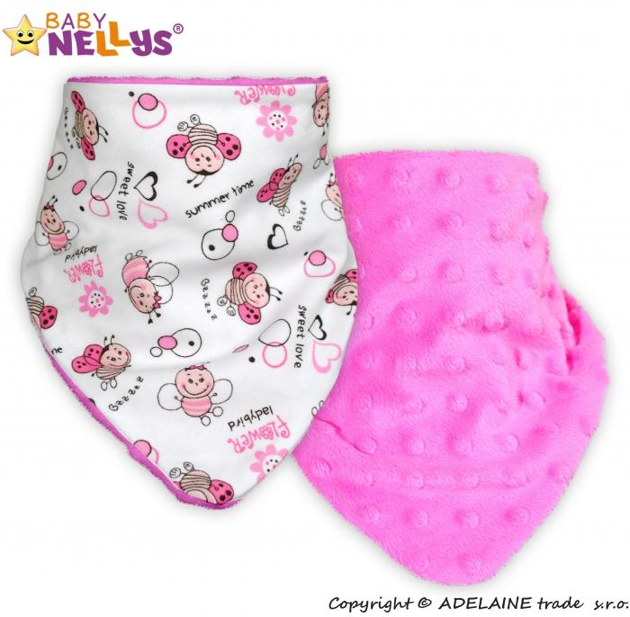 Dětský šátek/bryndáček na krk Baby Nellys ® MINKY - Beruška/sytě růžová