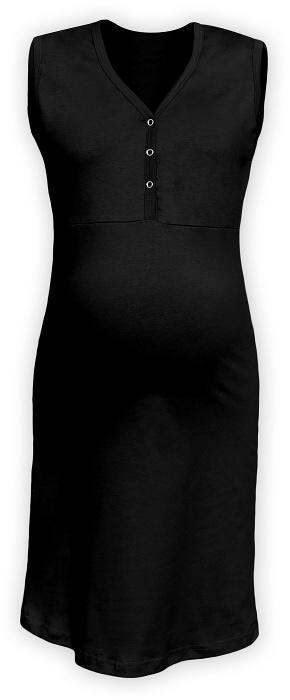Těhotenská, kojící noční košile PAVLA bez rukávu - černá