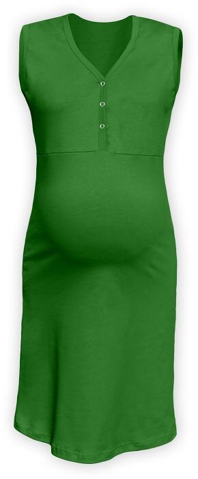 Těhotenská, kojící noční košile PAVLA bez rukávu - zelená