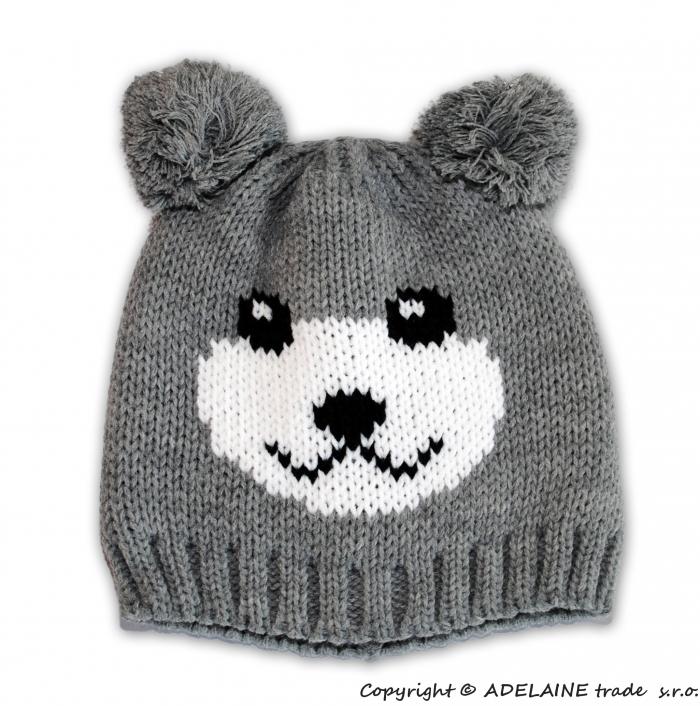 Zimní čepice PANDA - sv. šedá