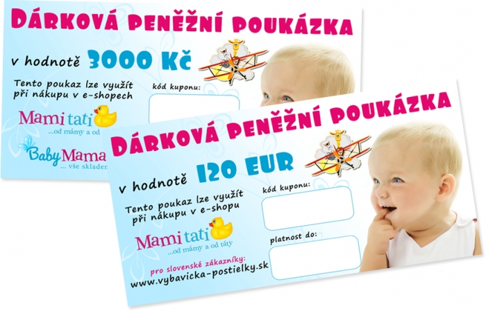 Dárkový poukaz Mamitati.cz v hodnotě 3000kč/120eur