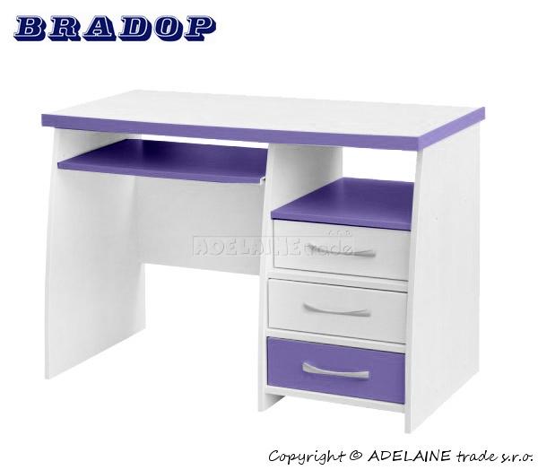 Psací stůl CASPER - Bradop JIM creme/fialový,lila