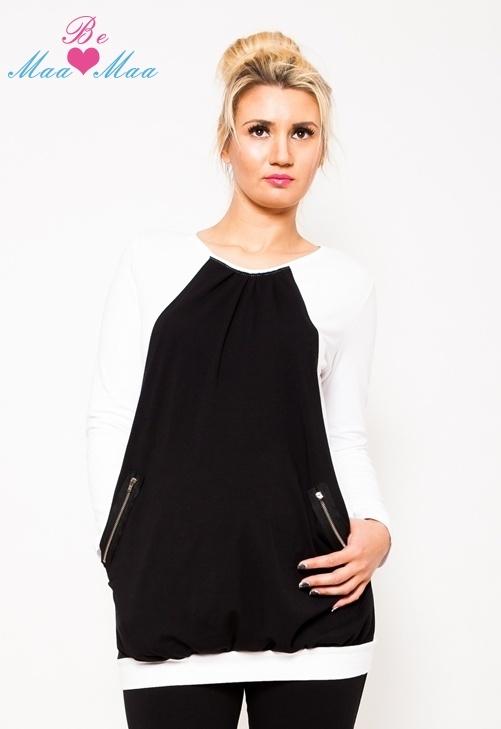 Těhotenská tunika UMA - bílá/černá - L/XL