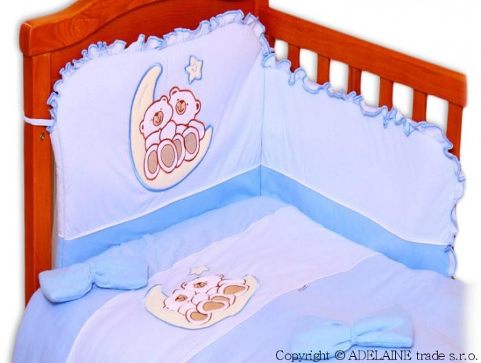 Mantinel s povlečením Terjan - Medvídci na měsíčku - jersey modrý