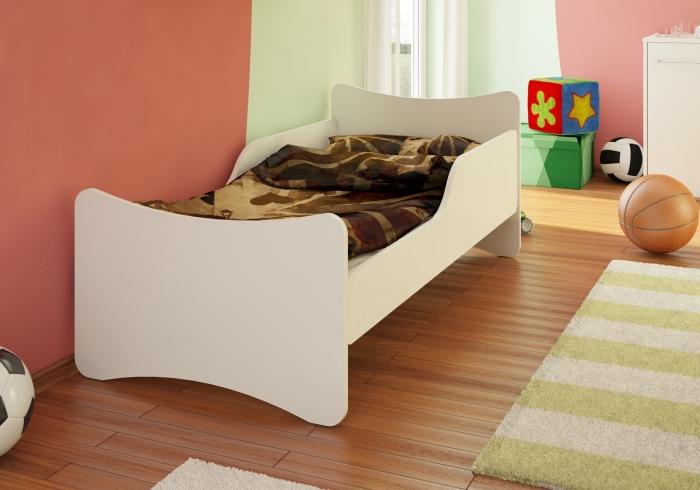 Dětská postel se zábranou - bílá, 180x80 cm