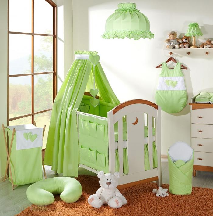 Nebesa lux z celé látky - Srdíčko zelené