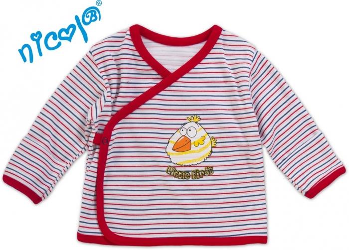 Novorozenecká košilka Little Funny Birds - červenomodrý proužek