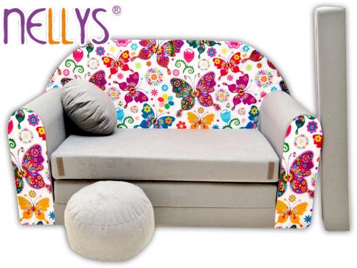 Rozkládací dětská pohovka Nellys ® 63R - Motýlci v šedé