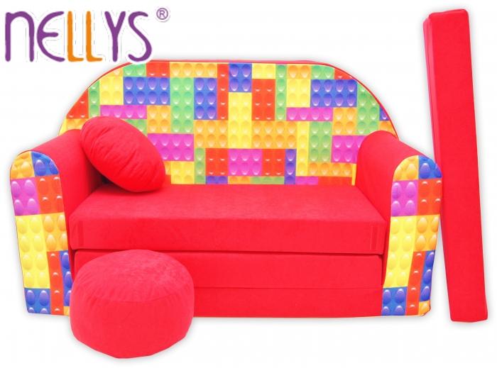 Rozkládací dětská pohovka Nellys ® 66R - Kostičky v červené