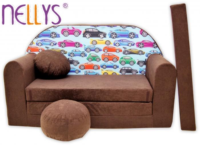 Rozkládací dětská pohovka Nellys ® 72R - Malá autíčka v hnědé