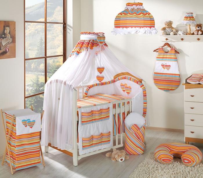 Luxusní mega set s moskytiérou - Srdíčko proužek pomeranč