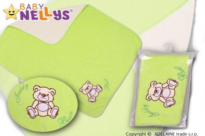 Deka/dečka froté/velur - Medvídek TEDDY BEAR - zelená