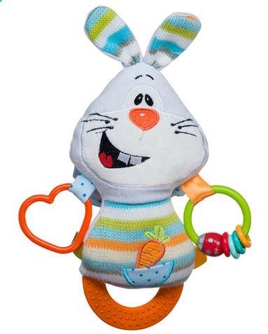 Edukační hračka s chrastítkem a kousátkem - Zajíc