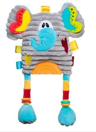 Edukační hračka s chrastítkem a kousátkem - Slon