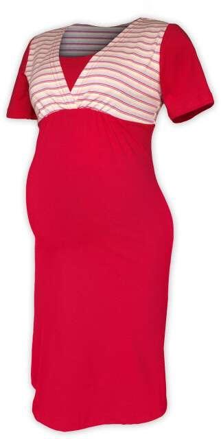 Těhotenská-kojící noční košile - sytě růžová/růžový proužek
