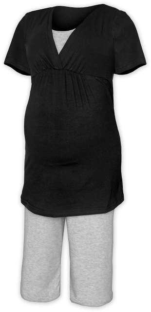 Těhotenská-kojící noční košile s kalhoty - černá/šedý melír