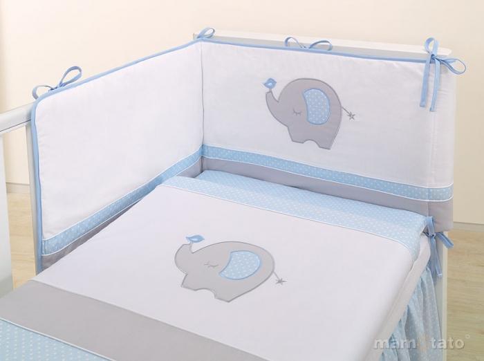 Mantinel s povlečením LUX - SLON modrý/šedý