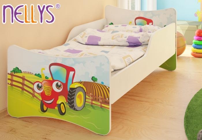 Dětská postel se zábranou Traktor - 180x90 cm