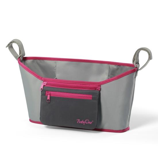 Taška na kočárek - Šedo-růžová