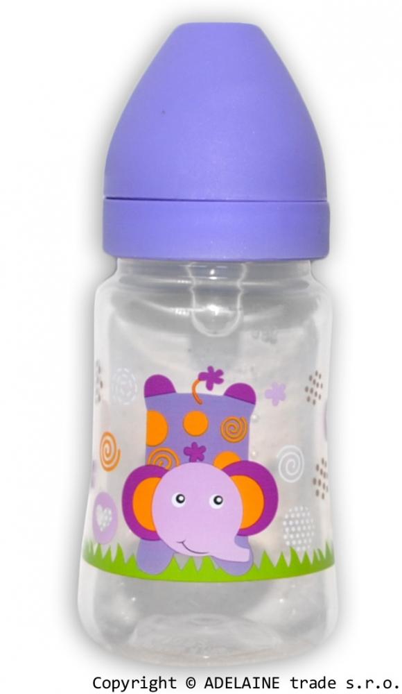 Lahvička Akuku 250ml - fialová se slonem