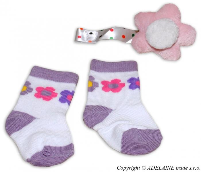 Sada - ponožky a hračka s klipem na šidítko/dudlík