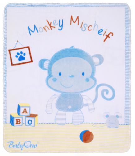 Luxusní oboustranná dečka Baby Ono, satén/plyš - Opička