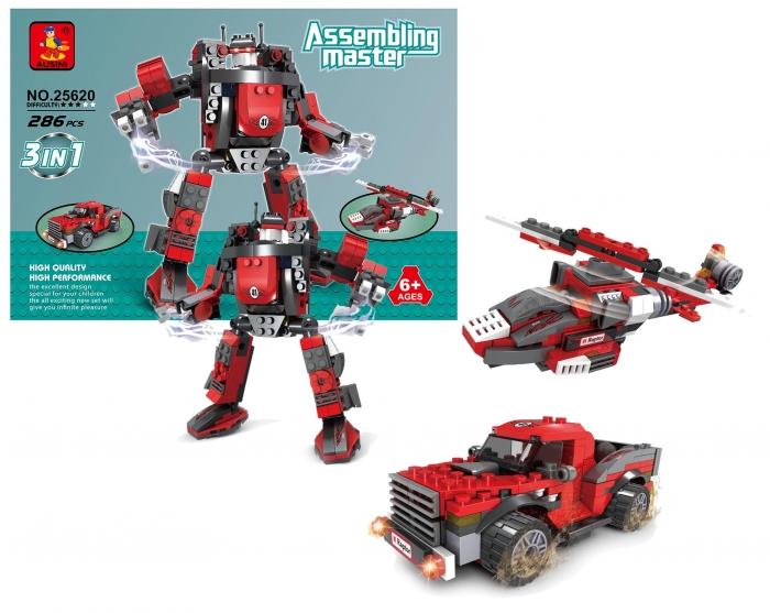 Stavebnice AUSINI 3v1 auto-robot, 286 dílů