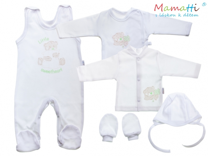 Souprava do porodnice v krabičce Mamatti - LITTLE SWEET HEART, bílá