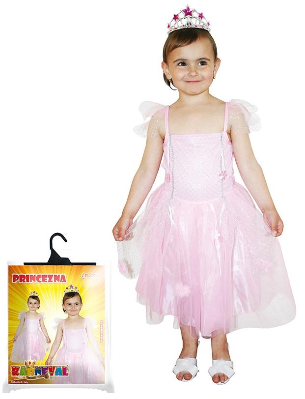 Karnevalový kostým princezna růžová se třpytkami, vel. XS