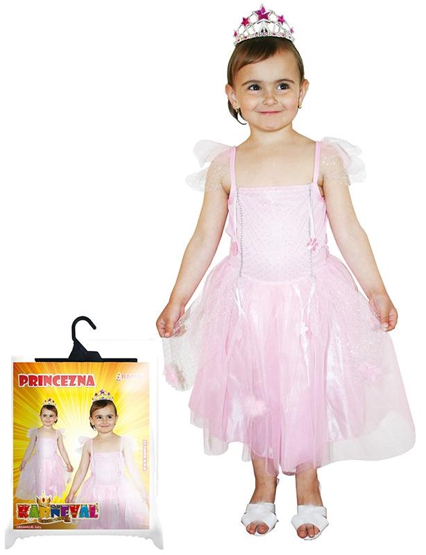 Karnevalový kostým princezna růžová se třpytkami, vel. S