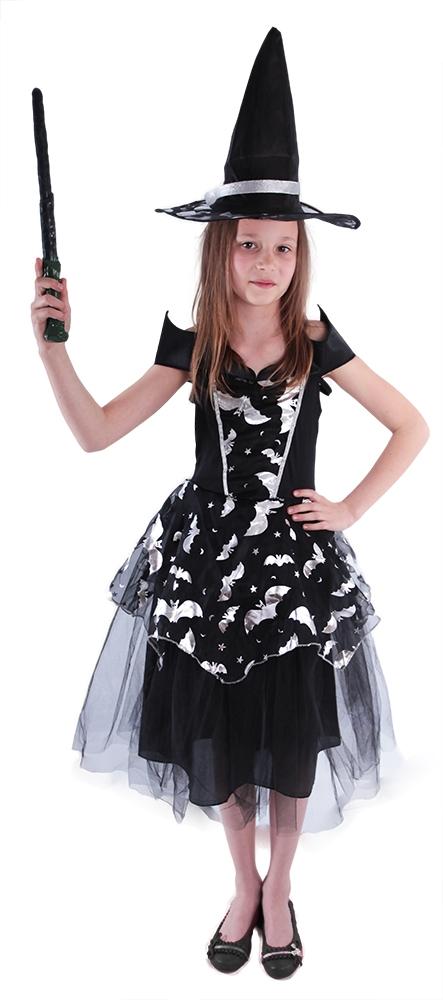 Karnevalový kostým čarodějnice/halloween netopýrka, vel. L