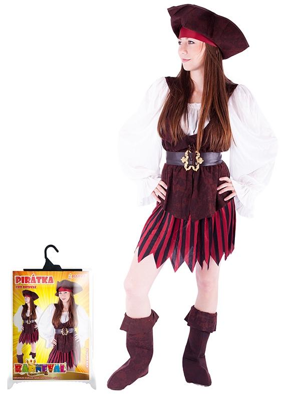 Karnevalový kostým pirátka + boty pro dospělé, vel. M