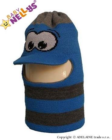 Zimní čepička/kukla - modrá s očima