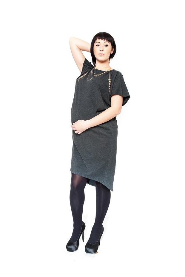 Těhotenské šaty tunika BELLA - grafit f2971a0427