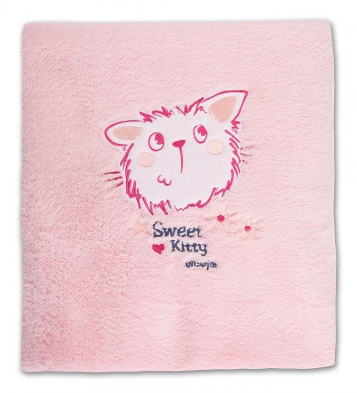 Hřejivá dečka Kočička - růžová,80x100cm