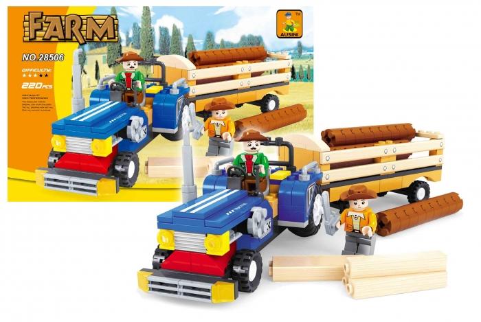 Stavebnice AUSINI farma traktor s vlečkou, 220 dílů