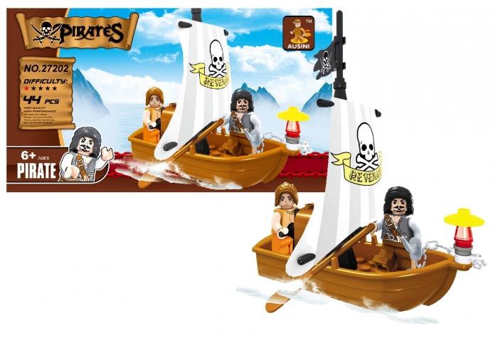 Stavebnice AUSINI piráti loď pirátská, 44 dílů