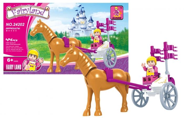 Stavebnice AUSINI pohádková - kočár s koněm, 44 dílů