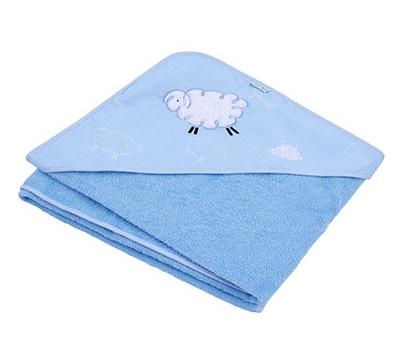 Osuška s kapucí Ty i My 100 x 100cm - Ovečka Fluffy - modrá