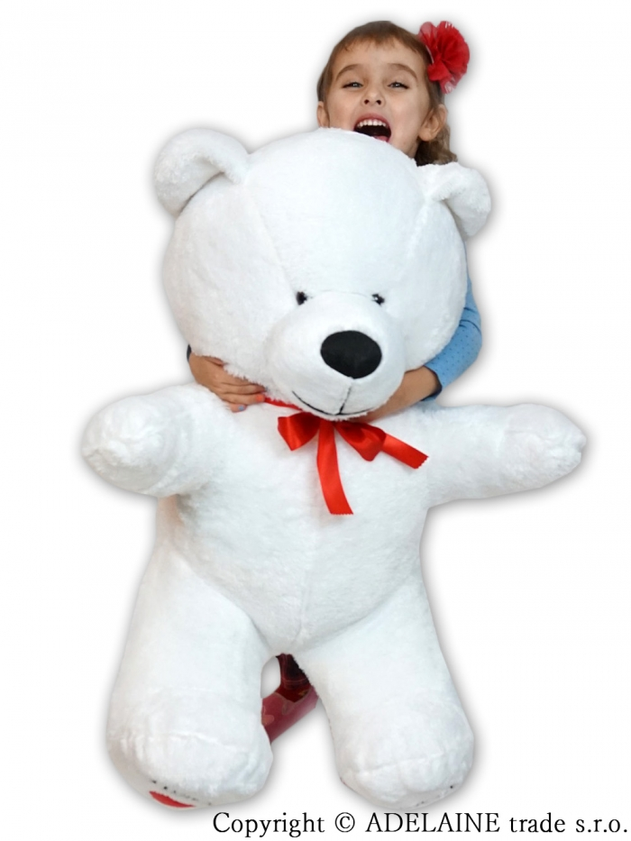 Plyšový Medvěd XXL Baby Nellys I LOVE - bílý