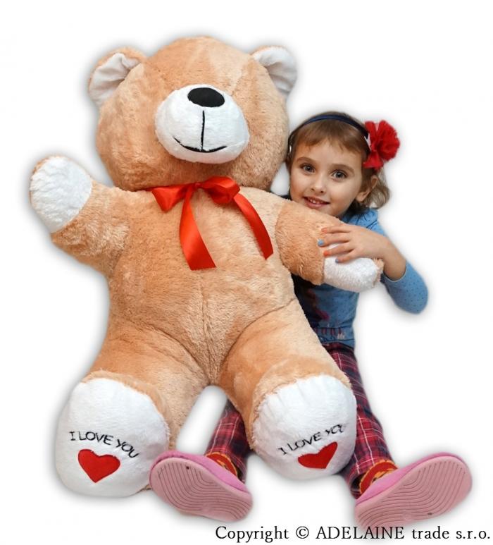Plyšový Medvěd XXL Baby Nellys I LOVE - sv. hnědý