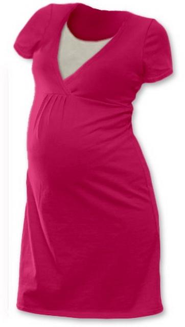 Těhotenská, kojící noční košile JOHANKA krátký rukáv - sytě růžová