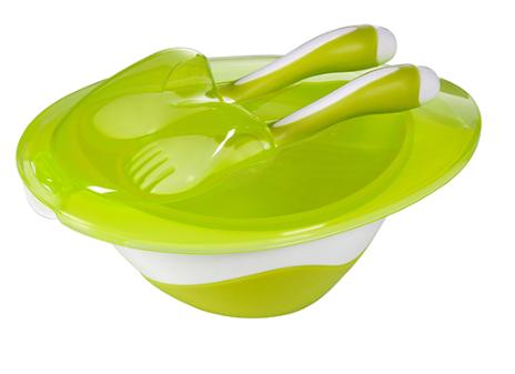 Miska s lžičkou a vidličkou Baby Ono - zelená
