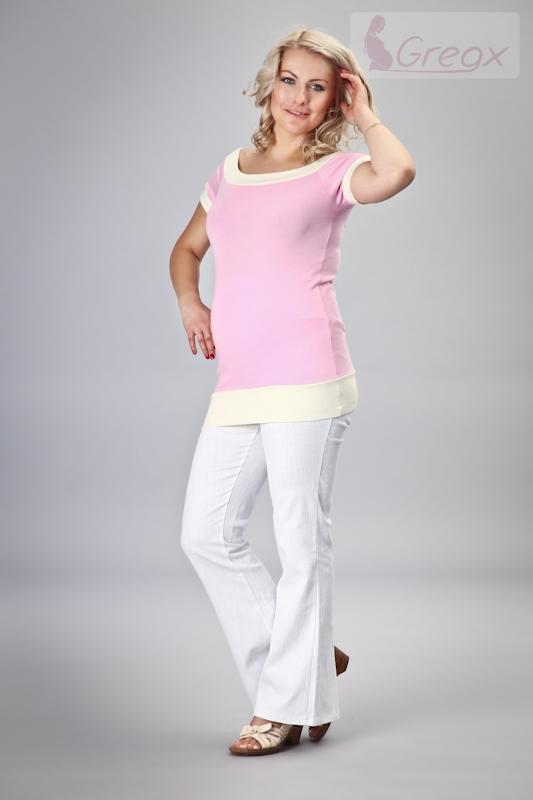 Elegantní těhotenské kalhoty JEANS - bílá