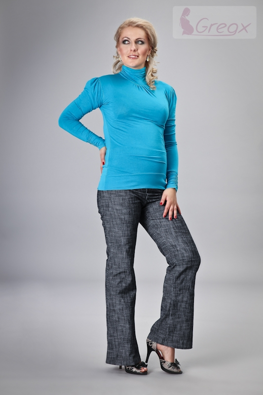 Elegantní těhotenské kalhoty JEANS - granátový melír