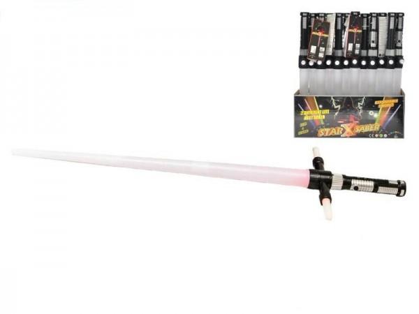 Laserový meč svítící skládací plast 86cm na baterie se zvukem asst 3 barvy 12ks v box