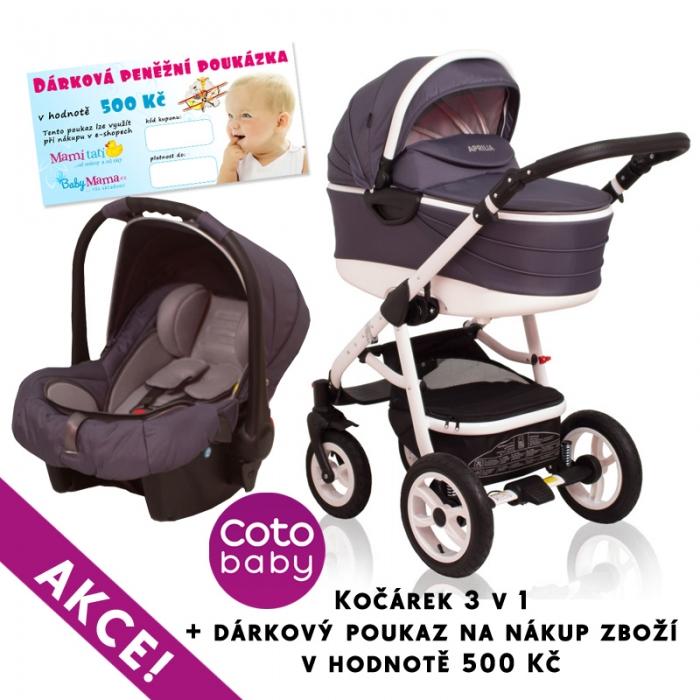 Kočárek APRILIA Coto Baby 3v1 + dárkový poukaz na 500kč - dark grey
