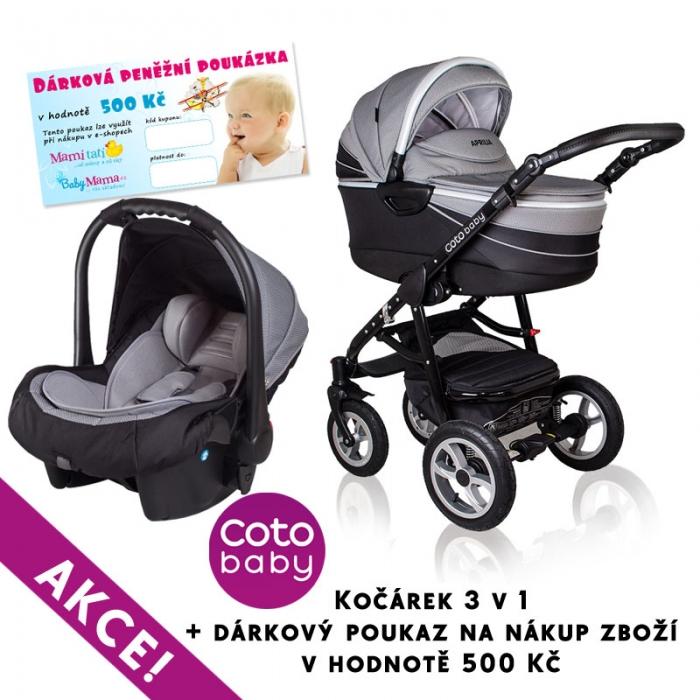Kočárek APRILIA Coto Baby 3v1 + dárkový poukaz na 500kč - PATTERN DARK GREY